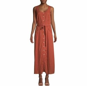 NWT Terracotta Belted Button Front Maxi Dress